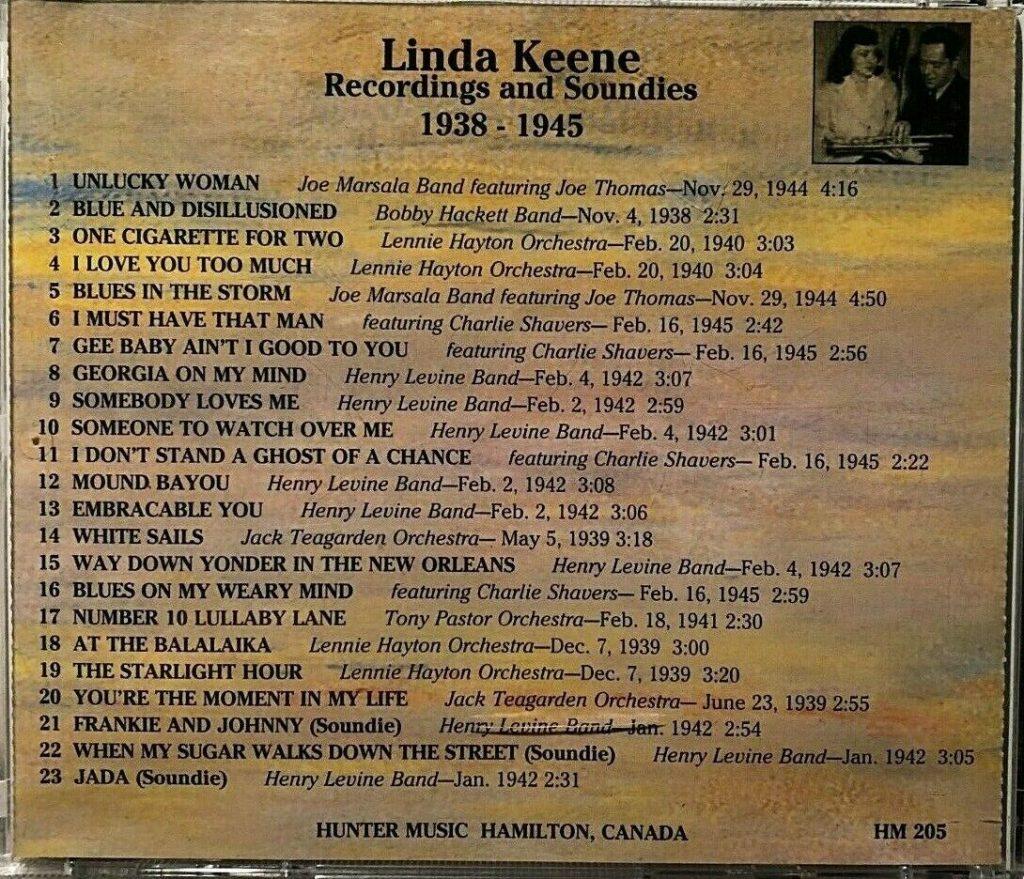 Linda Keene CD Back Cover