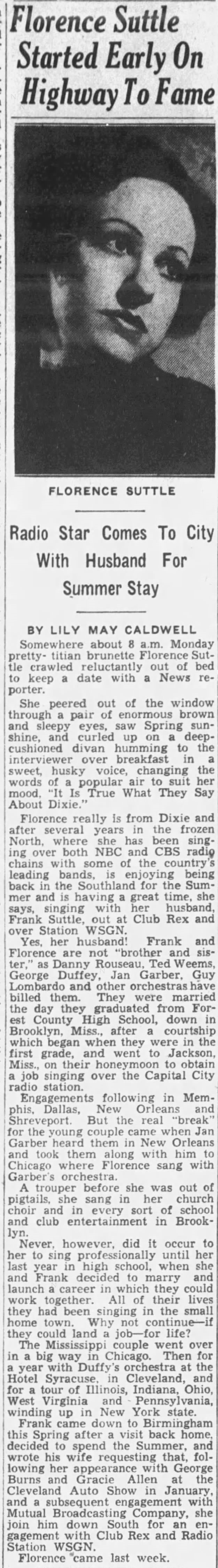 The Florence Suttle Interview 1936