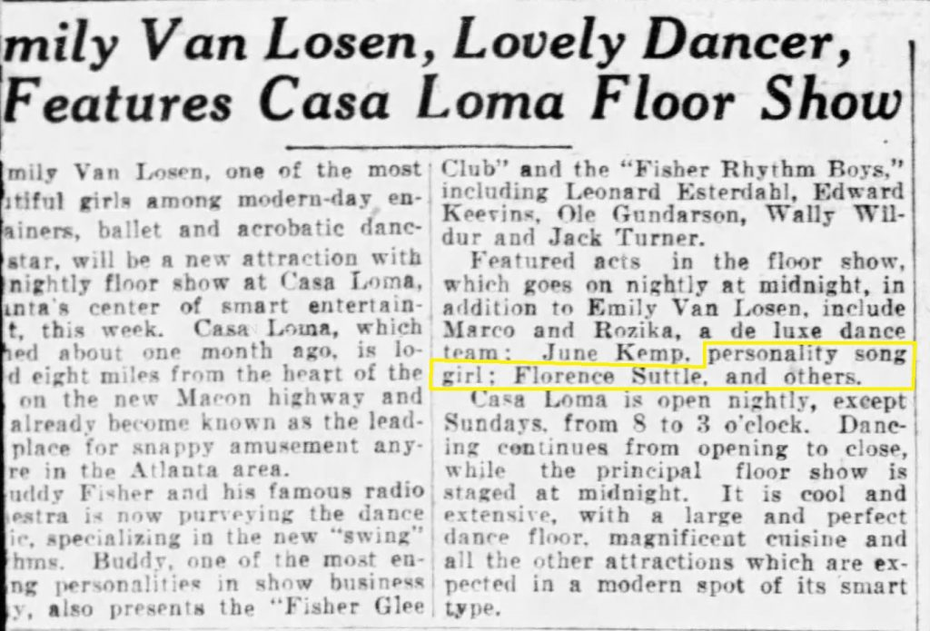 The last article that mentions Florence Suttle at the Casa Loma in 1936
