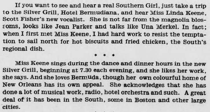Article about Linda in Bermuda Christmas Eve 1938