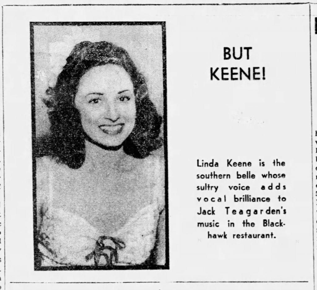 Linda Keene at the Blackhawk June 25, 1939