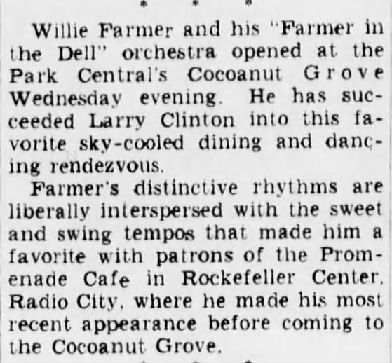 Farmer starts at the Park Central on July 26, 1938