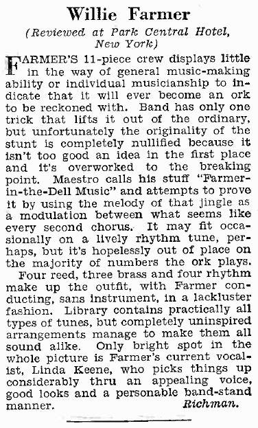 Review of Willie Farmer in Billboard 1939-09-09