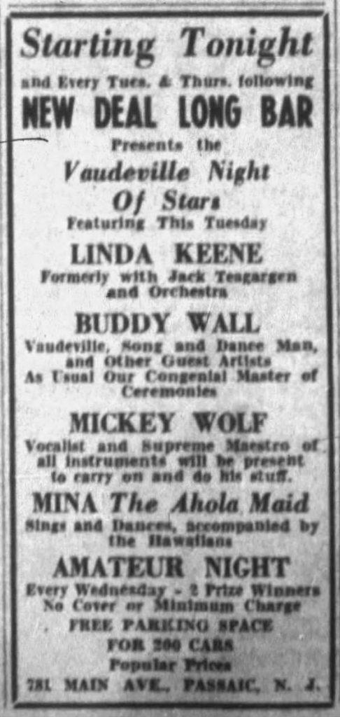 Linda Keene in Passaic, NJ, 1939-11-07