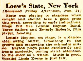 Billboard Review of Hayton November 24, 1939