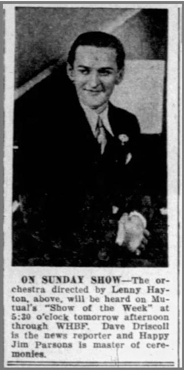 Hayton on the radio 1940-04-21