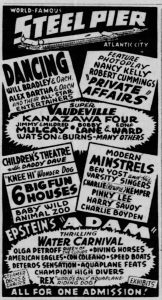 Ad for the Steel Pier July 7, 1940