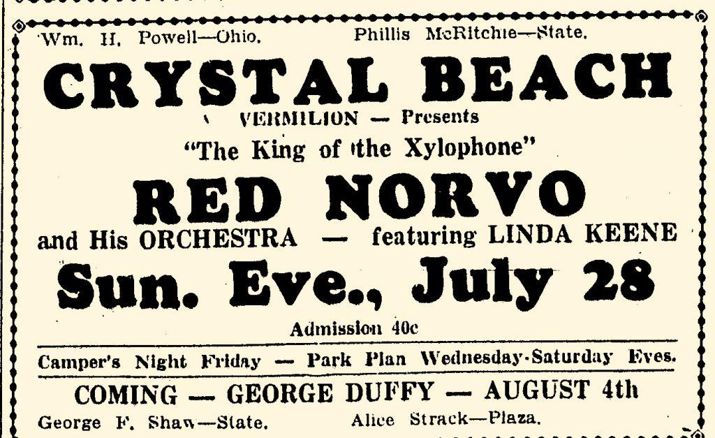 Norvo and Keene Crystal Beach, Vermillion, July 28, 1940