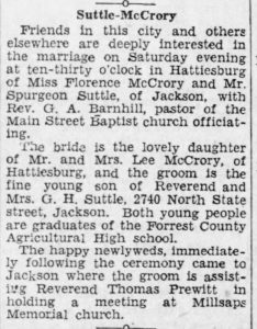 Florence McCrory marries Spurgeon Suttle
