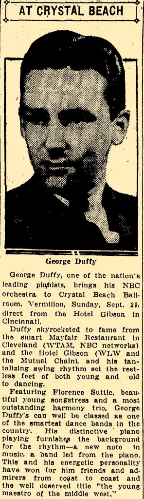 Duffy at Crystal Beach September 29. 1935
