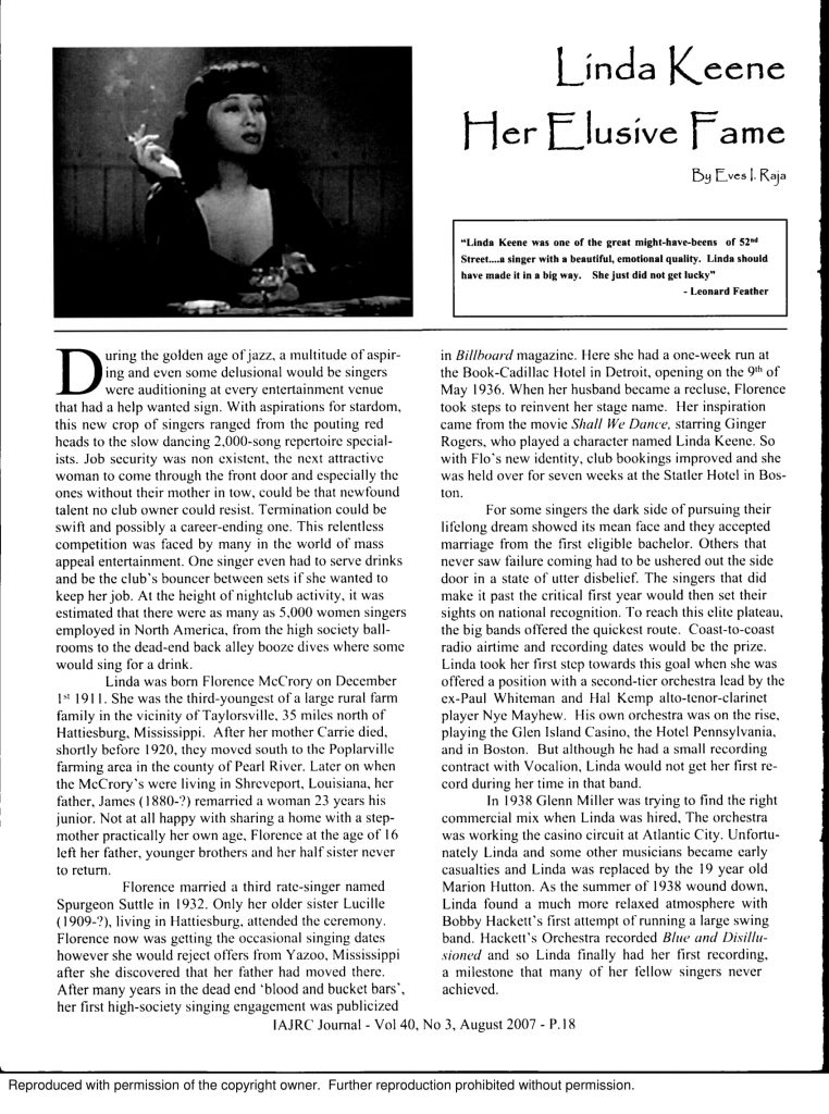 Linda Keene, Elusive Fame Page 1