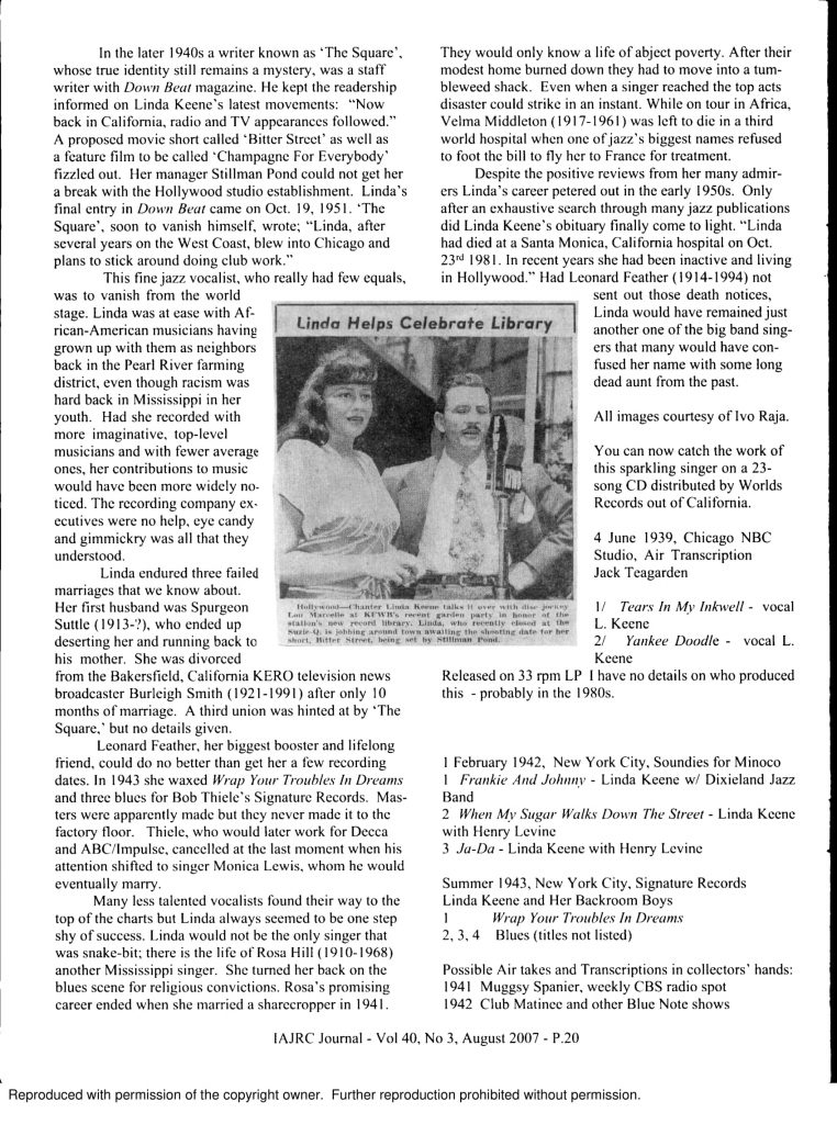 Linda Keene, Her Elusive Fame, Page 3