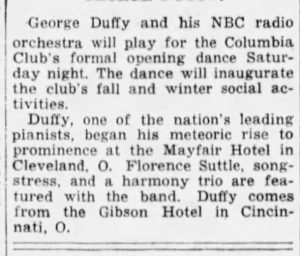 George Duffy at the Columbia Club