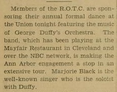 George Duffy at the University of Michigan April 26, 1934