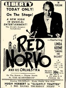 Advertisement for Red Norvo at the Liberty