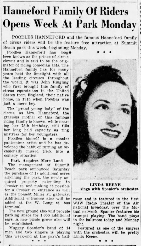Linda Keene in Akron with Mugsy Spanier
