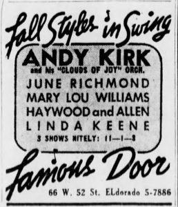 Linda Keene at the Famous Door