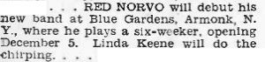 Linda Keene back with Red Norvo