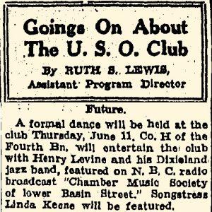 Linda Keene & Herny Levine at the U.S.O. Club