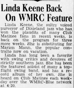 Linda Keene on Club Matinee again