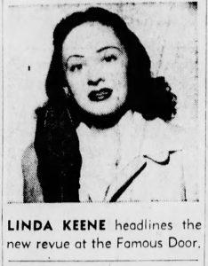 Linda Keene back at the Famous Door