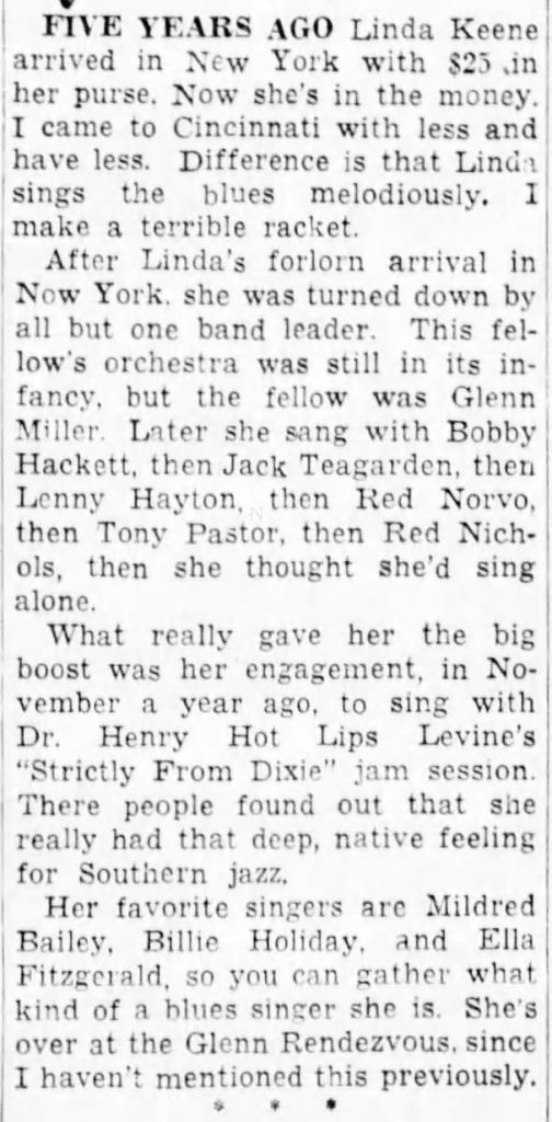 A nice write up about Linda Keene at the Glenn Rendezvous