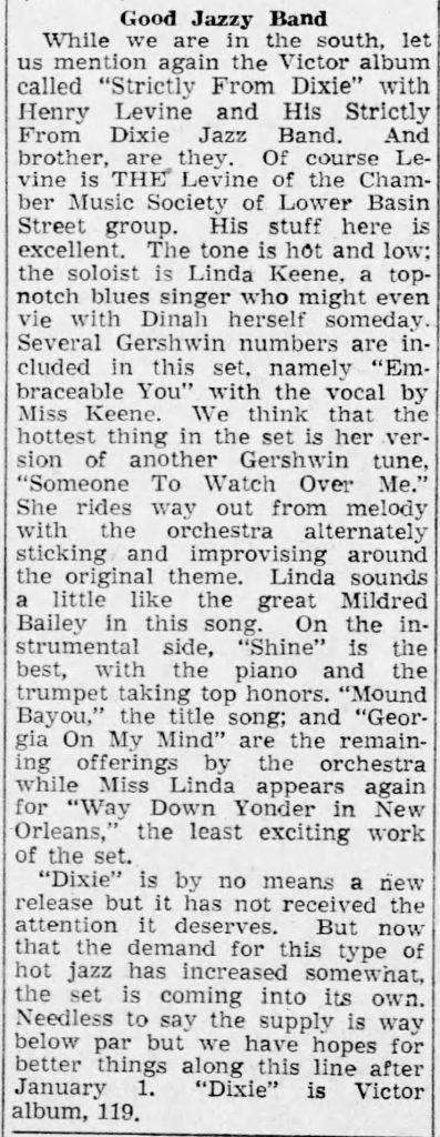 1943-11-28 Arizona Daily Star (Tucson, Arizona) review of Strictly From Dixie