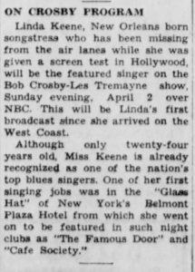 Linda Keene on Bob Crosby show