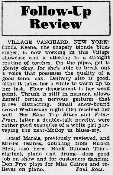 Review of Linda Keene at the Village Vanguard
