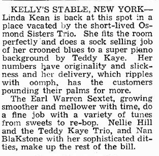 Billboard reviews Linda at Kelly's Stable