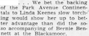 Bernie Bennett not good for Linda Keene