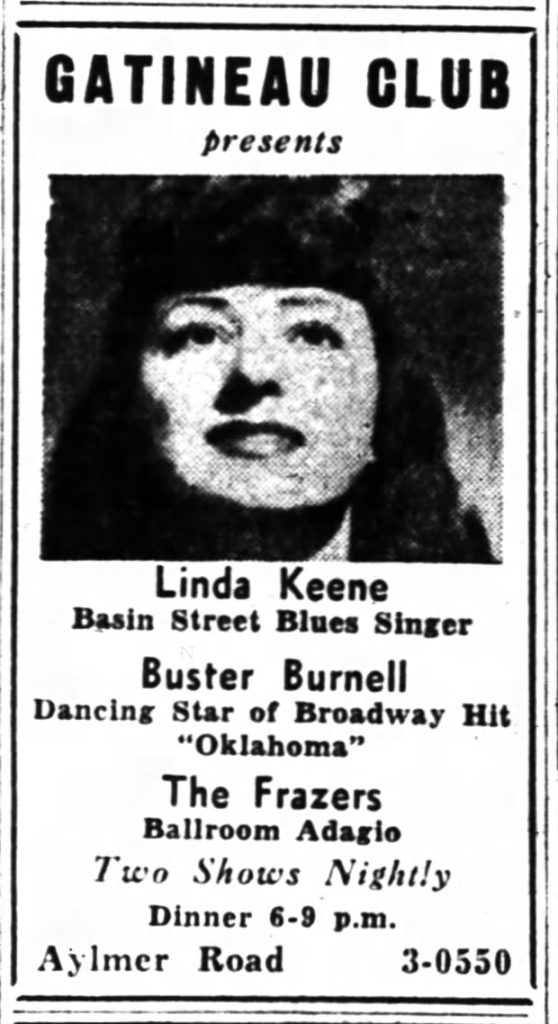 Advertisement for Linda Keene at the Gatineau Club