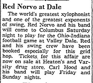 Red Norvo plays for football game