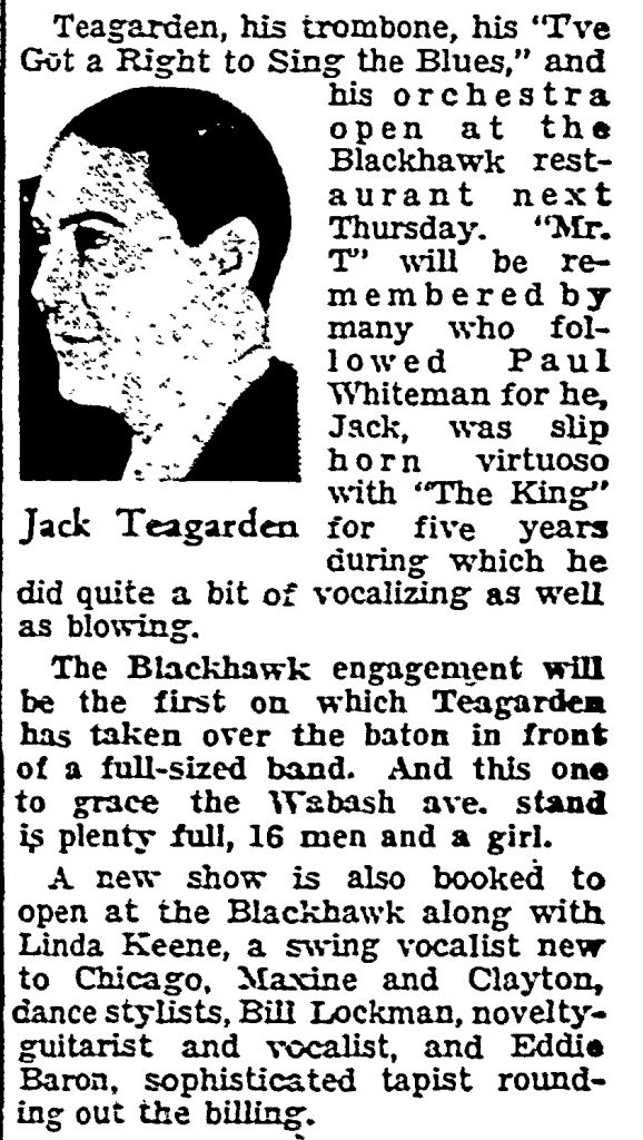 Build Up for Jack Teagarden May 14, 1939