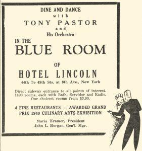 Tony Pastor at Hotel Lincoln