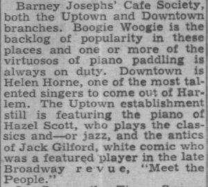Jack Gilford at Uptown Cafe Society