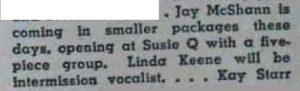 Linda Keene at the Susie Q