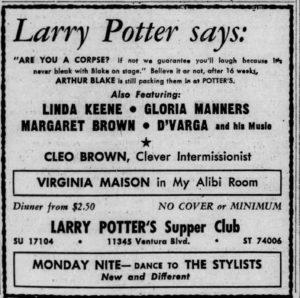 Linda Keene at Larry Potter's August 20, 1949
