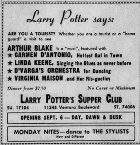 Linda Keene at Larry Potter's August 27, 1949