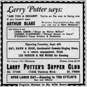 Linda Keene at Larry Potter's September 3rd, 1949