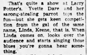 Review of Linda Keene at Larry Potter's in February of 1950