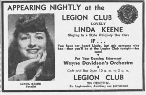 Linda Keene at the Legion Club in Great Falls, Montana