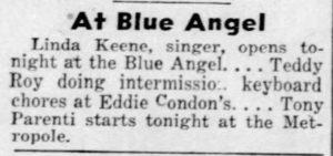 Linda Keene at the Blue Angel in New York