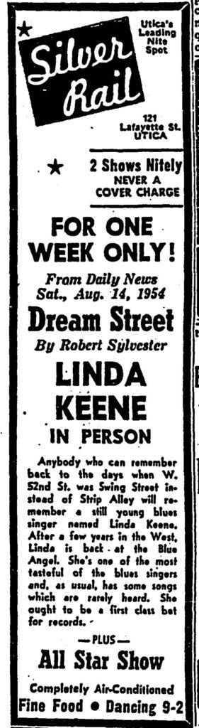 Linda Keene at The Silver Rail in Utica in November of 1954