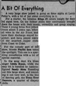 Linda Keene back at Larry Potter's in 1958