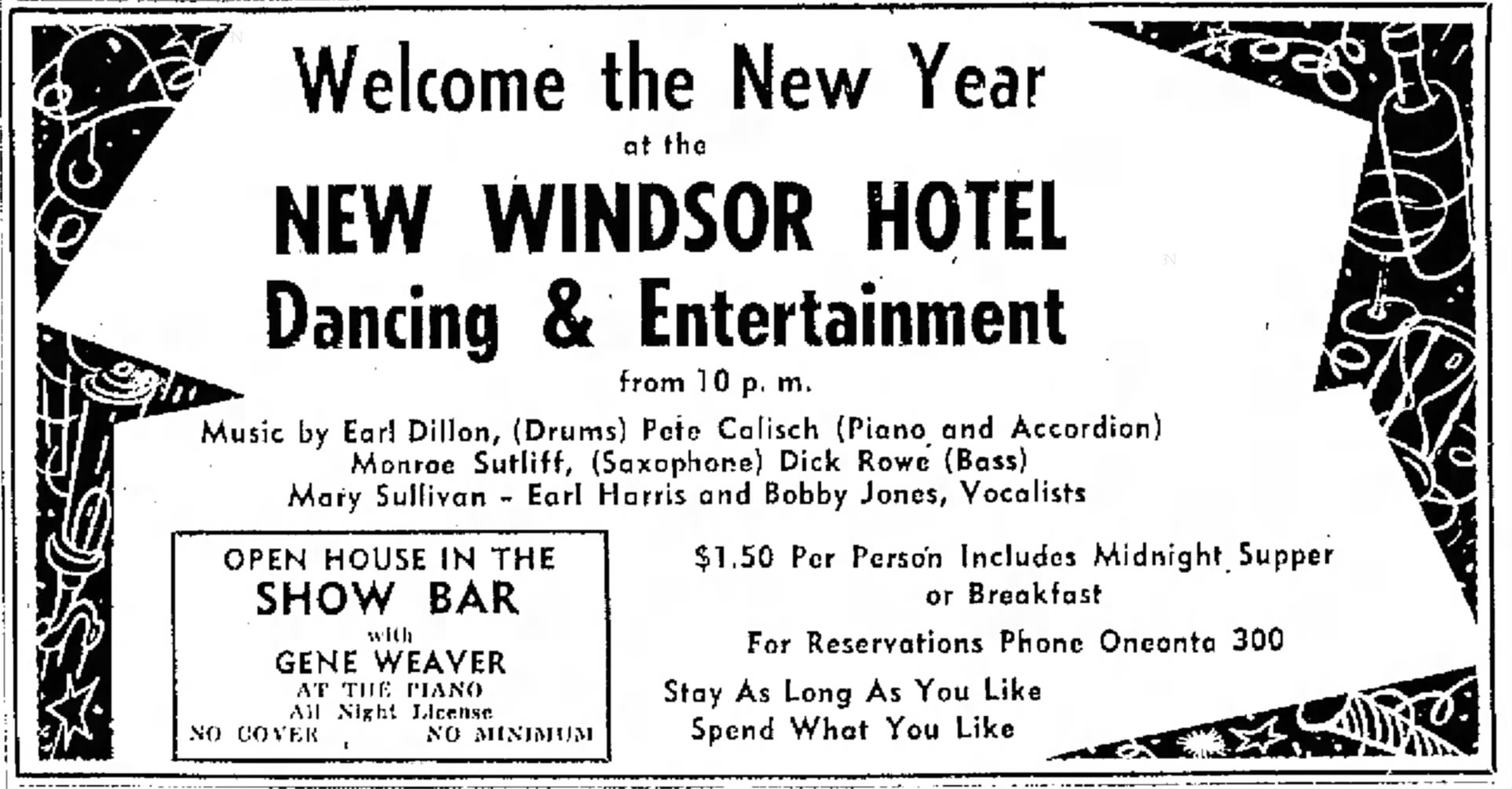 New Year's Eve at the New Windsor Hotel 1953