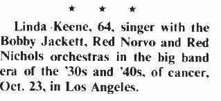 Linda Keene Obituary