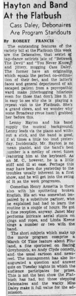 Review of Lennie Hayton at the Flatbush