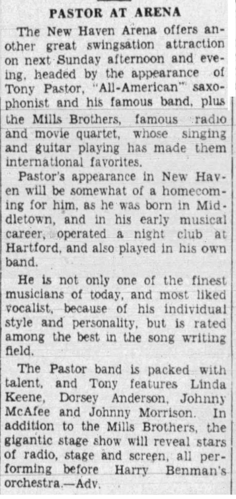 Pastor and Keene in New Haven on April 13, 1941