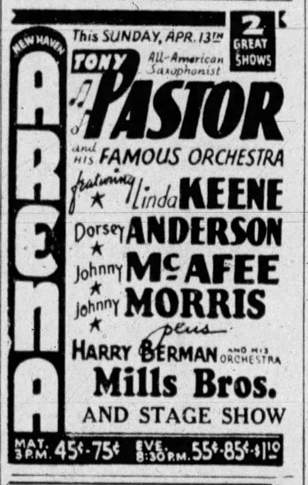 Advertise for Pastor and Keene in New Haven on April 13, 1941